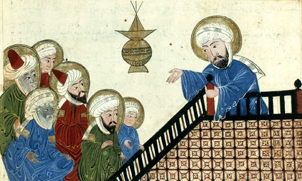 A page from a 15th-century illustrated copy of a book by Al-Bīrūnī, depicting Muhammad at the Farewell Pilgrimage
