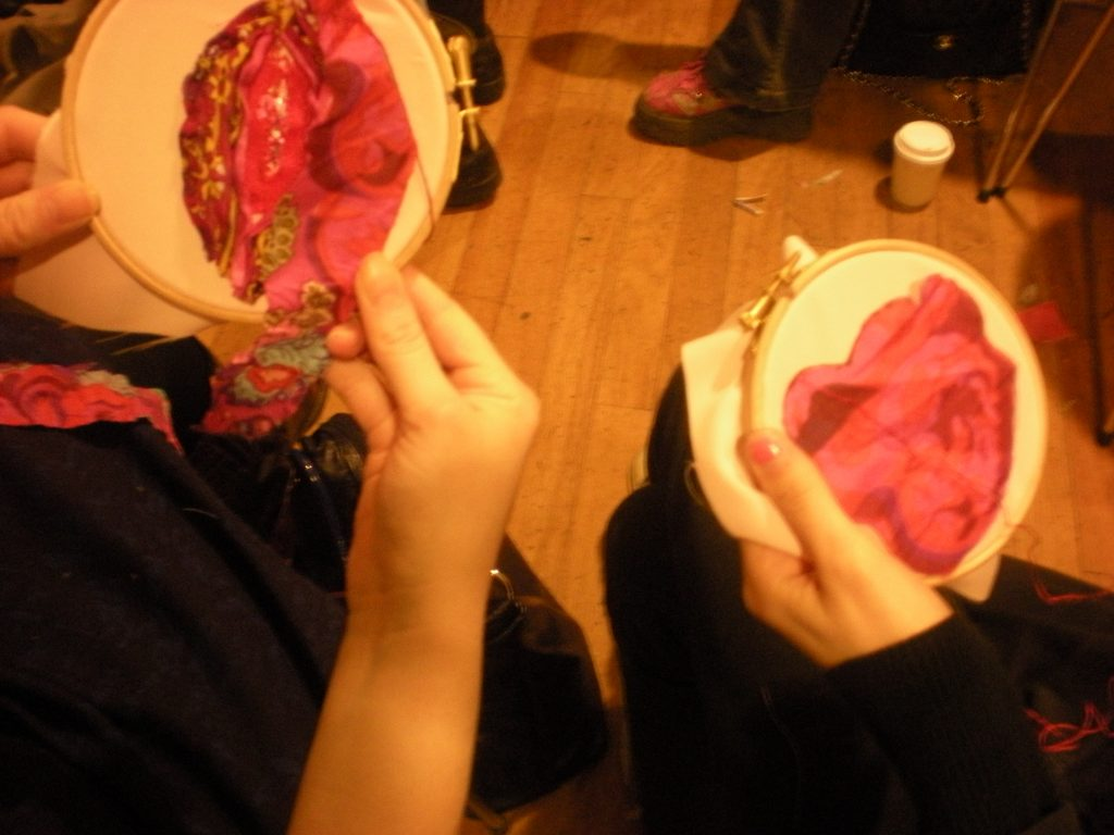 Embroidered vaginas to discuss FGM. Pic Credit: craftivist collective / Flickr